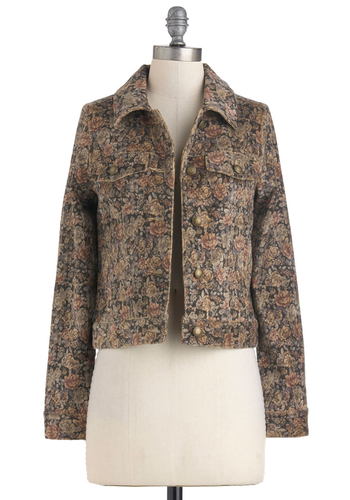 Among the Giving Jacket by Gentle Fawn - Brown, Tan / Cream, Floral, Buttons, Pockets, Long Sleeve, Casual, 90s, Fall, 1, Cotton, Short
