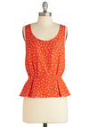 Drinks and Appetizers Top - Orange, Blue, White, Print, Casual, Peplum, Sleeveless, Pleats, Summer, Mid-length, Scoop
