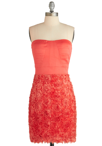 What a Gallica Dress - Orange, Flower, Wedding, Party, Shift, Strapless, Solid, Cocktail, Holiday Party, Coral, Mid-length, Sweetheart