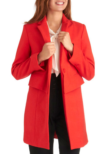 How Do You Duo? Coat by BB Dakota - Long, Solid, Buttons, Pockets, Long Sleeve, Work, Menswear Inspired, Vintage Inspired, Fall, 3, Coral