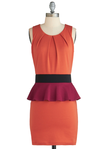 Sample 2183 - Orange, Purple, Black, Peplum, Sleeveless