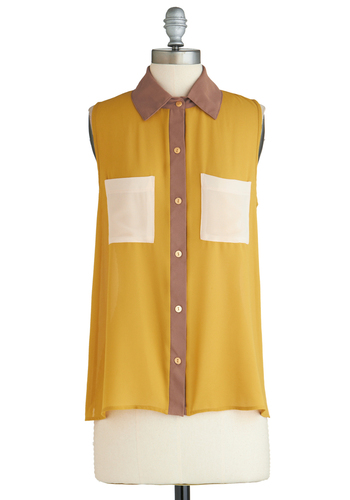 Sample 2189 - Yellow, Brown, Tan / Cream, Buttons, Pockets, Sleeveless