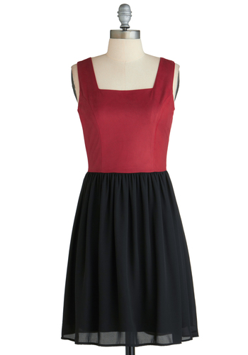 Sample 2195 - Red, Black, Casual, Twofer, Sleeveless