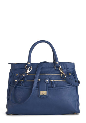 Arrayed in the Shade Bag - Blue, Exposed zipper, Solid, Buckles, Work, Faux Leather