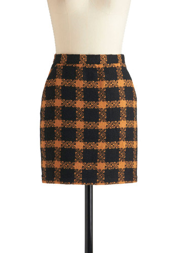Semester Chic Skirt by Jack by BB Dakota - Short, Black, Orange, Pockets, Mini, Work, 90s, Scholastic/Collegiate, Fall