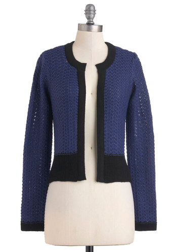 Clothes the Deal Cardigan - Black, Knitted, Short, Blue, Work, Long Sleeve, Fall