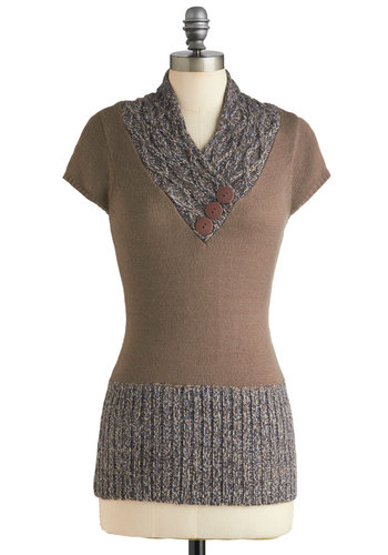 Awfully Frond of You Top - Tan, Grey, Buttons, Knitted, Casual, Short Sleeves, Solid, Fall, Mid-length