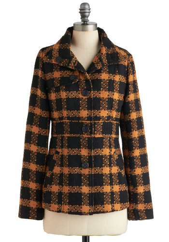 Semester Chic Jacket by Jack by BB Dakota - Mid-length, Black, Orange, Buttons, Pockets, Long Sleeve, 3, Scholastic/Collegiate, Fall, Rustic