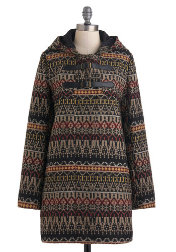 Far-Off Village Coat by Jack by BB Dakota - Long, Black, Red, Yellow, Tan / Cream, Pockets, Long Sleeve, 3, Print, Buckles, Casual, Folk Art, Rustic, Fall