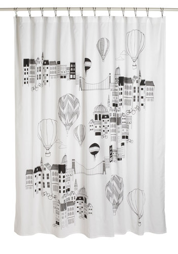 Looking Up Shower Curtain - White, Dorm Decor, Novelty Print, Cotton