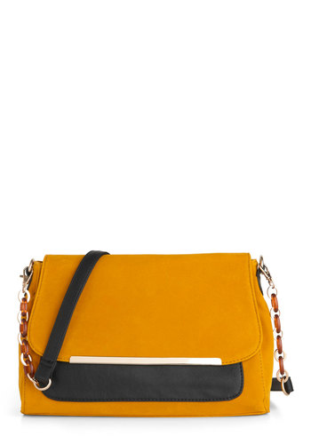 Manhattan Cab Hailing Bag - Yellow, Black, Chain, Casual, Colorblocking, Suede