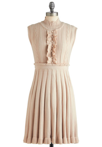 Freshly Baked Shortbread Dress - Mid-length, Cream, Buttons, Pleats, Ruffles, A-line, Sleeveless, French / Victorian, Pastel, Solid