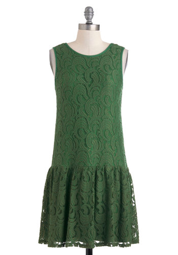 A Frond Farewell Dress - Short, Green, Lace, Party, Sleeveless, 20s, 30s, Cocktail, Daytime Party, Solid, Drop Waist