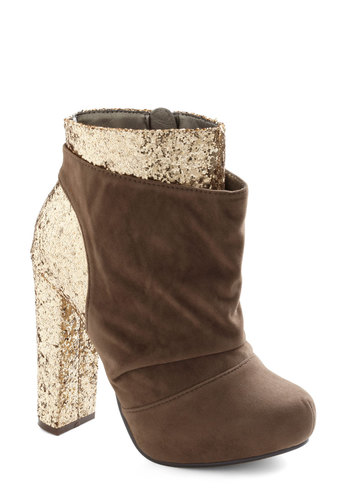Gilt to Thrill Bootie - Brown, Gold, Glitter, Party, Girls Night Out, Luxe, Statement, High, Holiday Party