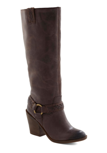 Yes, Yukon Boot - Brown, Solid, Mid, Leather, Braided, Casual, Fall
