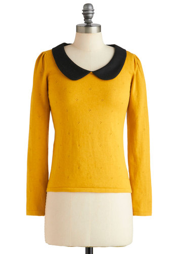 A Lady and a Collar Top by Yumi - Yellow, Black, Peter Pan Collar, Long Sleeve, Solid, Knitted, Casual, Vintage Inspired, 60s, Fall, Mid-length, Scholastic/Collegiate, Collared