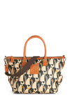 Orla Kiely The Fox of Life Bag by Orla Kiely - Multi, Yellow, Green, Blue, Tan / Cream, Grey, Print with Animals, Casual, Leather, International Designer