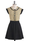 Cat's More Like It Dress by Dear Creatures - Mid-length, Black, Yellow, White, Print with Animals, Buttons, Peter Pan Collar, Casual, Twofer, Cap Sleeves, Scholastic/Collegiate, Cats