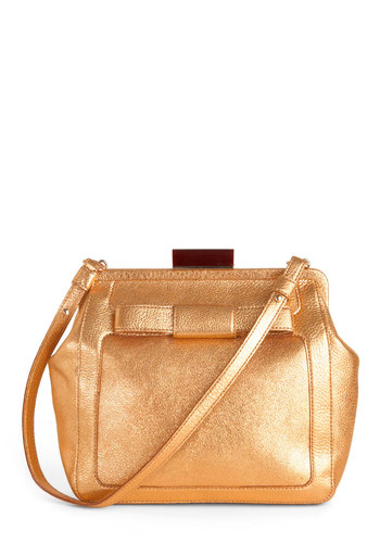 Orla Kiely Gold It Dear Bag by Orla Kiely - Gold, Solid, Bows, Glitter, Party, Girls Night Out, Cocktail, Holiday Party, Leather, International Designer
