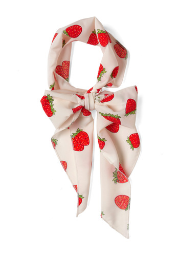 Bushel of Berries Scarf - Red, Green, White, Novelty Print, Casual, Fruits, Summer, Top Rated