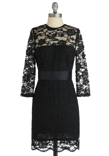 So Noir, So Good Dress by BB Dakota - Black, Lace, Scallops, Film Noir, Sheath / Shift, 3/4 Sleeve, Party, Mid-length, Girls Night Out, Holiday Party, Sheer, Solid, Crew
