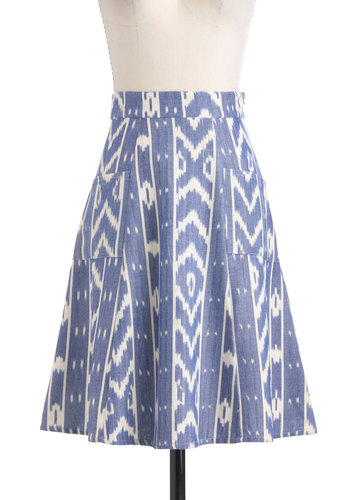Ikat in the Act Skirt by Mata Traders - Mid-length, Blue, White, Pockets, A-line, Print, Casual, Summer, Cotton, Eco-Friendly