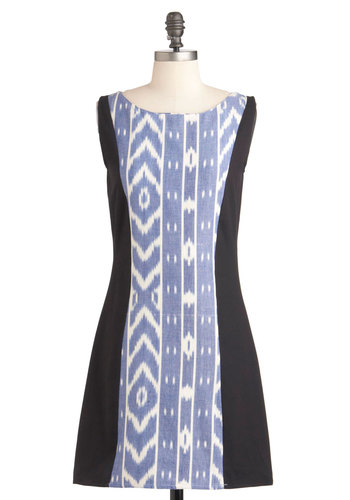 Ikat in the Act Dress by Mata Traders - Mid-length, Black, White, Casual, Sleeveless, Print, Shift, Blue, Cotton, Boat, Eco-Friendly