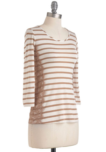Morning Mocha Top - Tan, Brown, Stripes, Lace, Casual, 3/4 Sleeve, Mid-length