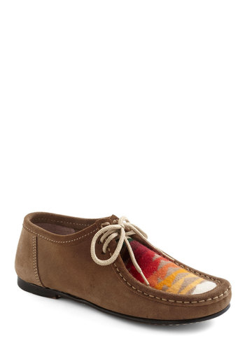 Sierra Sunset Flat - Tan, Multi, Flat, Lace Up, Folk Art, Rustic, Fall, Leather