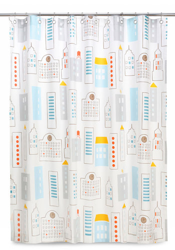 DwellStudio City of Tomorrow Shower Curtain by DwellStudio - Multi, Dorm Decor, Urban, Pastel, Cotton, Mid-Century