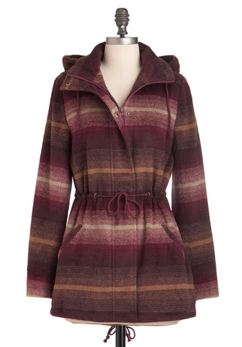 Scale of One to Zen Coat by Jack by BB Dakota - Stripes, Pockets, Long Sleeve, 3, Multi, Red, Brown, Tan / Cream, Casual, Fall, Belted, Rustic, Long