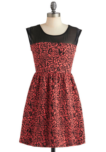 Marvel Arts Dress - Short, Orange, Black, Floral, Party, A-line, Sleeveless, Cocktail, Sheer, Coral