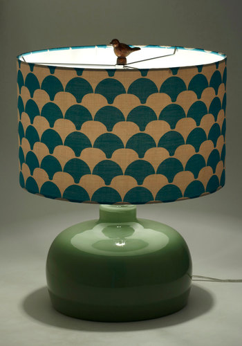 Glow Your Own Way Lamp - Blue, Dorm Decor, Green, Tan / Cream, Print, Mid-Century