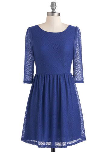 Venice Beach Beauty Dress - Short, Blue, Casual, High-Low Hem, Long Sleeve, Fall, A-line, Solid, Lace, Party, Sheer