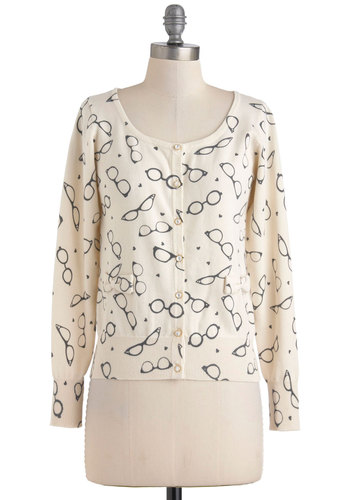 Eyewear Shall We Go? Cardigan by Yumi - Mid-length, Cream, Black, Buttons, Long Sleeve, Bows, Novelty Print, Quirky, Scholastic/Collegiate, Cotton, Button Down
