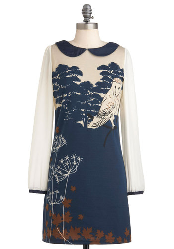 Owl Be Loving You Dress by Yumi - Mid-length, Blue, Tan / Cream, Print, Peter Pan Collar, Casual, Sheath / Shift, Long Sleeve, Fall, Print with Animals, Owls