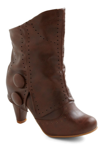 Know When to Fold 'Em Boot - Brown, Solid, Buttons, Casual, French / Victorian, Faux Leather, Mid, Variation