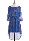 Star Exit Dress - Blue, Print, Casual, Vintage Inspired, High-Low Hem, 3/4 Sleeve, Fall, Short, Sheer