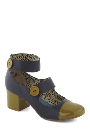 Phenomenal Gal Heel in Seaside by BC Shoes - Green, Grey, Buttons, Party, Vintage Inspired, 20s, Fall, Leather, Mid, Chunky heel, Variation, 60s