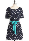 We Got the Trunk Dress in Navy - Blue, White, Print with Animals, Casual, Quirky, A-line, Short Sleeves, Mid-length, Belted