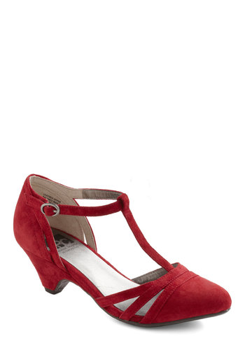 Just Prance Heel in Cherry by BC Footwear - Red, Solid, Cutout, Party, Vintage Inspired, 20s, 30s, Cocktail, Holiday Party, Leather, Suede, Mid, Buckles, Better, T-Strap