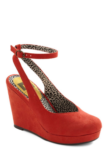 One Step Forward Wedge by BC Footwear - Wedge, Red, Solid, Party, Pinup, Platform, Slingback, High