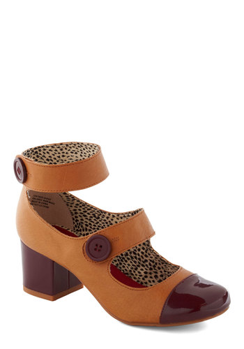 Phenomenal Gal Heel in Dessert by BC Footwear - Red, Brown, Buttons, Party, Casual, Vintage Inspired, 20s, Fall, Leather, Mid, Chunky heel, Variation, 60s