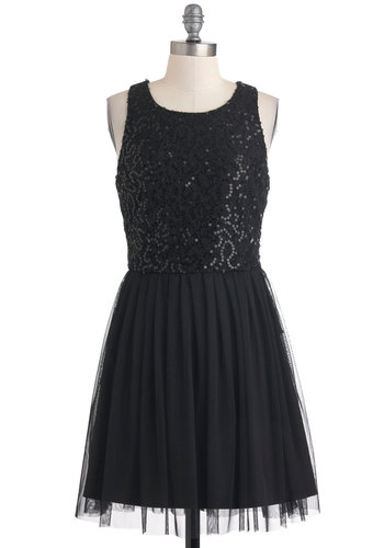 Midnight Dancer Dress by Jack by BB Dakota - Black, Sequins, Party, Ballerina / Tutu, Sleeveless, Holiday Party, Short, Solid, Pleats