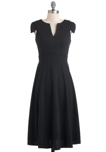 The Timeless Has Come Dress - Long, Black, Solid, A-line, Cap Sleeves, Cocktail