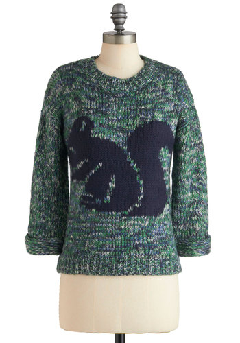 Forest Your Case Sweater - Green, Knitted, Long Sleeve, Mid-length, Blue, Print with Animals, Casual, Fall