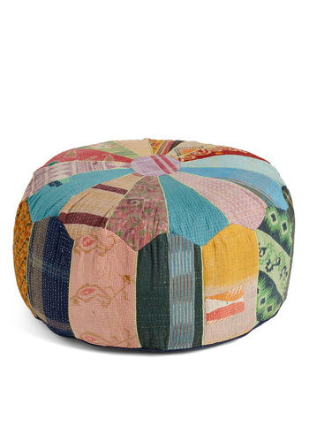 Patchwork from Home Pouf by Karma Living - Multi, Dorm Decor, Print, Casual, Folk Art, Rustic, Pastel, Cotton, Mint, Daytime Party
