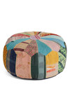 Patchwork from Home Pouf by Karma Living - Multi, Dorm Decor, Print, Casual, Folk Art, Rustic, Pastel, Cotton, Mint, Daytime Party, Mid-Century, Best, Wedding, Festival, Boho