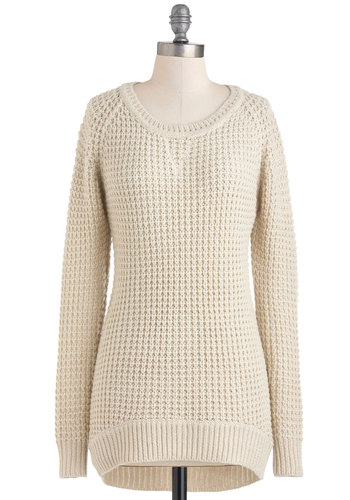In for the Afternoon Sweater - White, Solid, Knitted, Long Sleeve, Casual, 90s, Fall, Mid-length