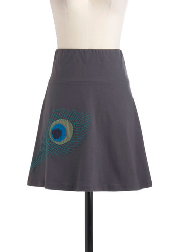 Feather the Storm Skirt - Grey, Green, Blue, A-line, Solid, Embroidery, Casual, Cotton, Short, Eco-Friendly